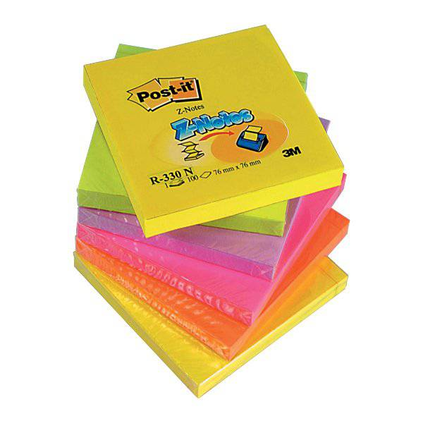 Ricariche Post-it® Z-Note - 76x76 mm - 2 giallo, verde, lilla, arancio, rosa - R 330 NR (conf.6)