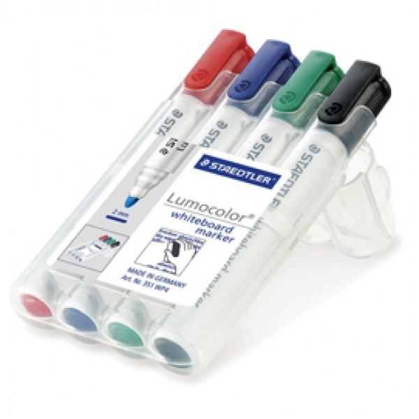 Pennarelli Lumocolor whiteboard 351 - tratto 2 mm - colori assortiti - Staedtler - conf. 4 pezzi