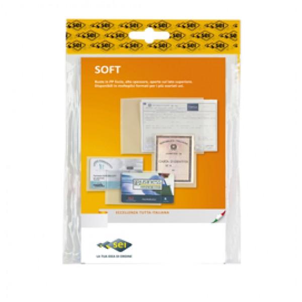 Buste a sacco Soft - PPL - 5,4x8,6 cm - liscio - trasparente - Sei Rota - conf. 100 pezzi