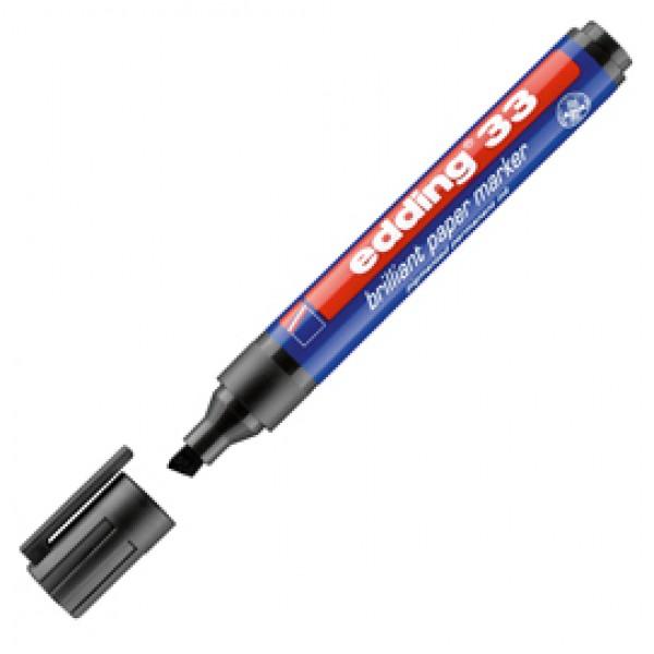 Marcatore 33 a base d'acqua - punta scalpello da 1,0mm a 5,0mm - nero - Edding