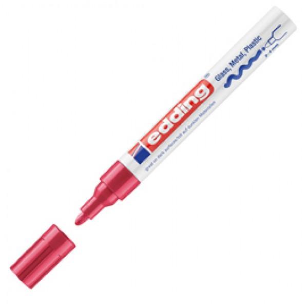 Marcatore permanente a vernice 750 - punta 2 - 4 mm - rosso - Edding