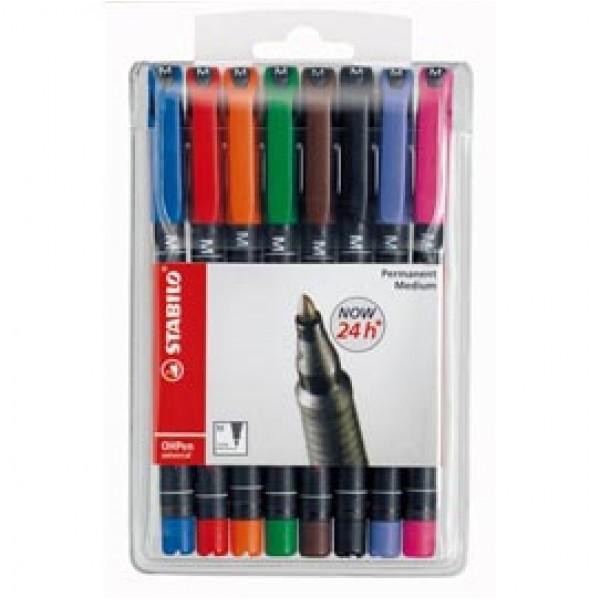 Pennarello OHPen universal permanente 843 - punta media 1 mm - colori assortiti - Stabilo - conf. 8 pezzi