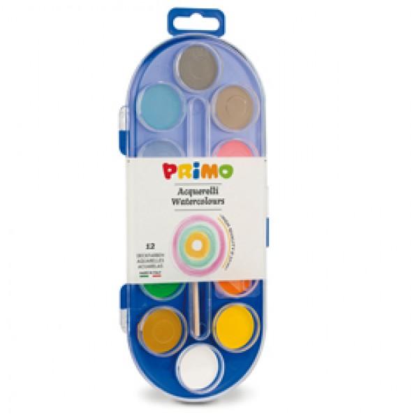 Pastiglie Acquerelli -  ø 30mm - colori assortiti - Primo - astuccio da 12 pastiglie