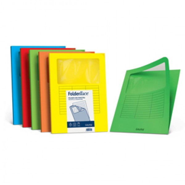 Cartelline a L con finestra - cartoncino 140 gr - 22x31 cm - azzurro - Favini - conf. 10 pezzi