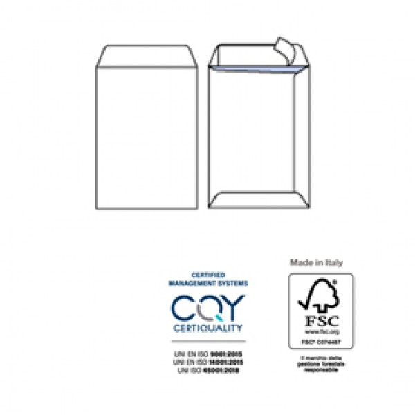 Busta a sacco bianca - serie Competitor - strip adesivo - 160x230 mm - 80 gr - Pigna - conf. 100 pezzi