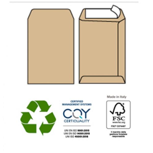 Busta a sacco avana - serie Multimail - strip adesivo - 250x353 mm - 100 gr - Pigna - conf. 500 pezzi