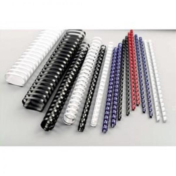 Dorsi spirale - plastica - 21 anelli - 19 mm - bianco - GBC - scatola 100 pezzi