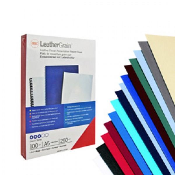Copertine Leathergrain - A4 - 250 gr - bianco goffrato - GBC - scatola 100 pezzi
