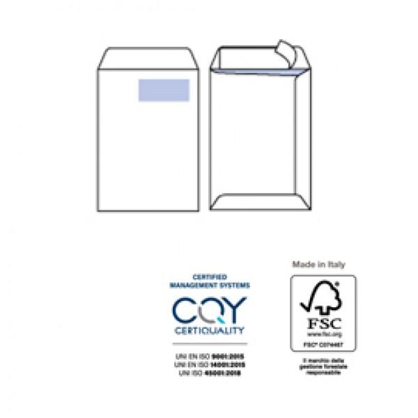 Busta a sacco bianca con finestra - serie Competitor - certificazione FSC - strip adesivo - 230x330 mm - 100 gr - Pigna - conf. 500 pezzi