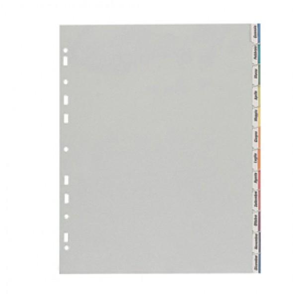 Separatore - 12 tacche personalizzabili - PP - 22x30 cm - grigio - Favorit