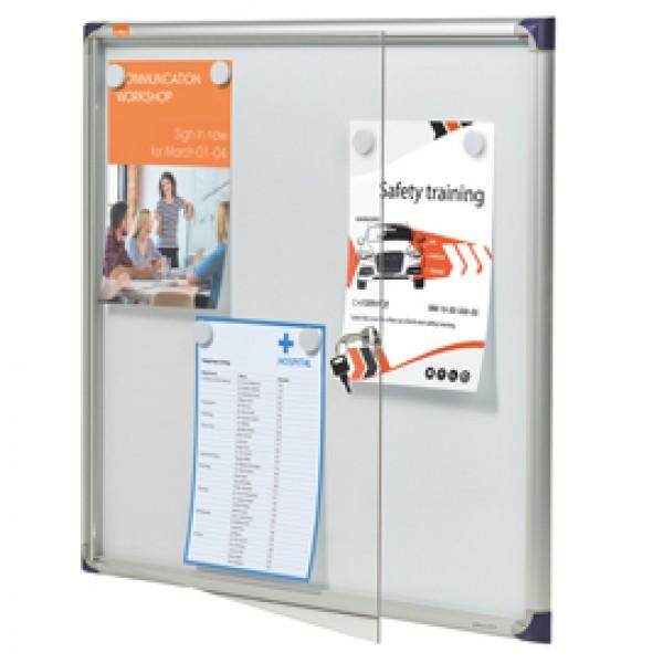 Bacheca per interni ultrapiatta - fondo in metallo magnetico bianco - 6 fogli A4 - orizzontale - Nobo