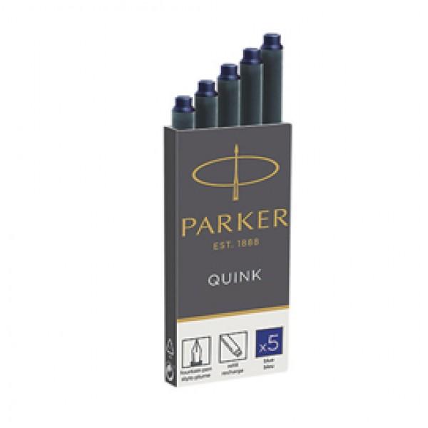 Cartucce standard inchiostro Quink - lunghezza 75 mm - blu - Parker - scatola 5 pezzi