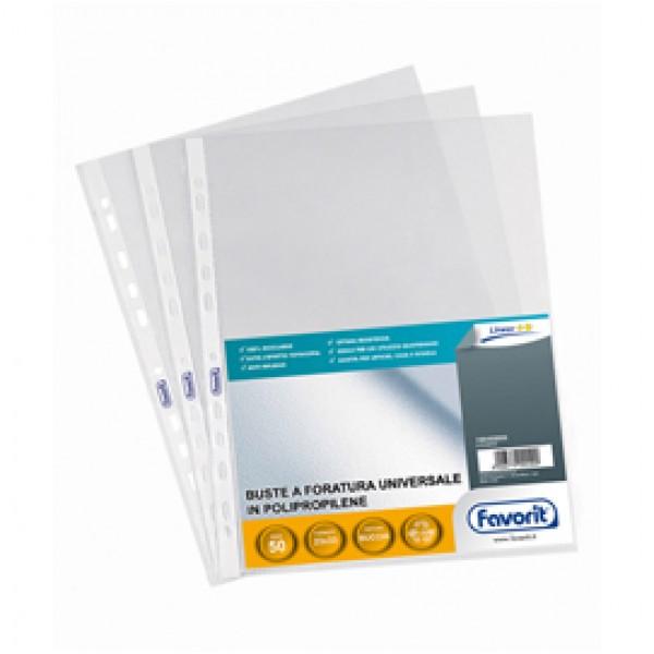 Buste forate Special PP - Linear - buccia - 23x33 cm - trasparente - Favorit - conf. 50 pezzi
