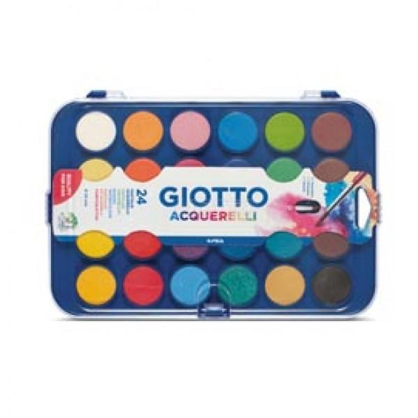 Pastiglie Acquerelli - ø 30mm  - colori assortiti - Giotto - astuccio 24 pastiglie