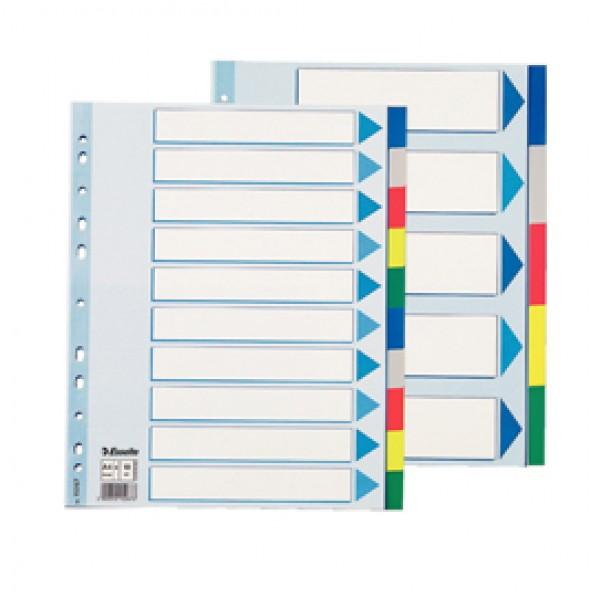 Separatore Neutro In PPL 10 Tasti Colorati F.To A4 MAXI 24,5x29,7cm ESSELTE - 15267