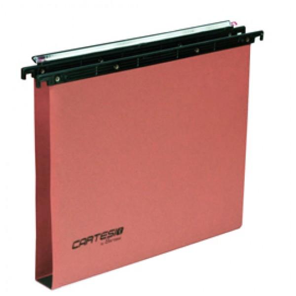 Cartella sospesa Cartesio Plus - cassetto - interasse 33 cm - fondo U 30 mm - 31,2x25 cm - arancio -Bertesi