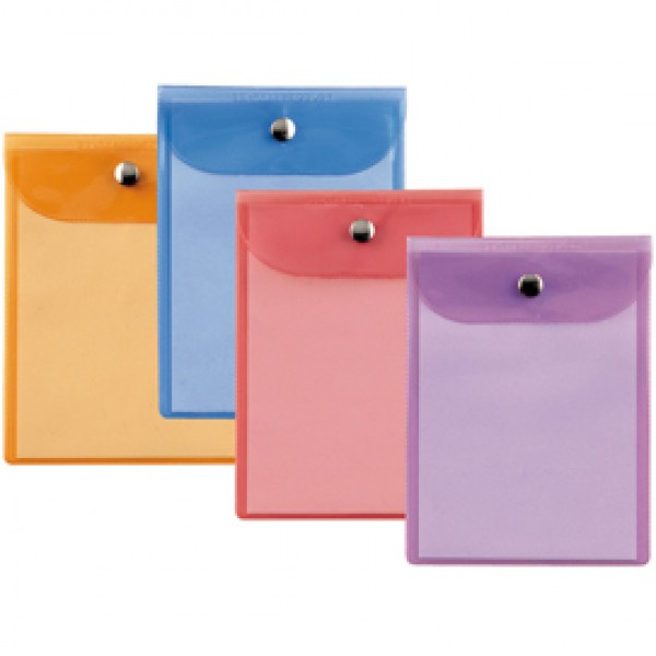 Busta con bottone Press 6 Color - PVC - 15x21 cm - colori assortiti - Sei Rota