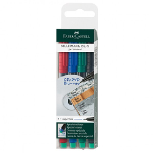 Pennarello Multimark universale permanente con gomma - astuccio 4 colori - punta superfine 0,4mm - Faber Castell