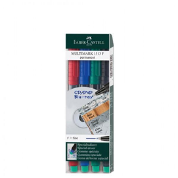 Pennarello Multimark universale permanente con gomma - punta fine 0,4mm - astuccio 4 colori - Faber Castell