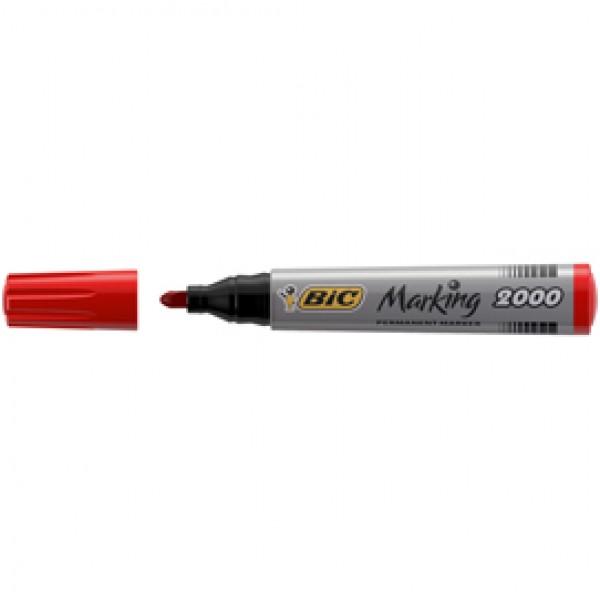 Marcatori permanente Marking a base d'alcool - punta tonda 1,70mm - rosso - Bic - conf. 12 pezzi