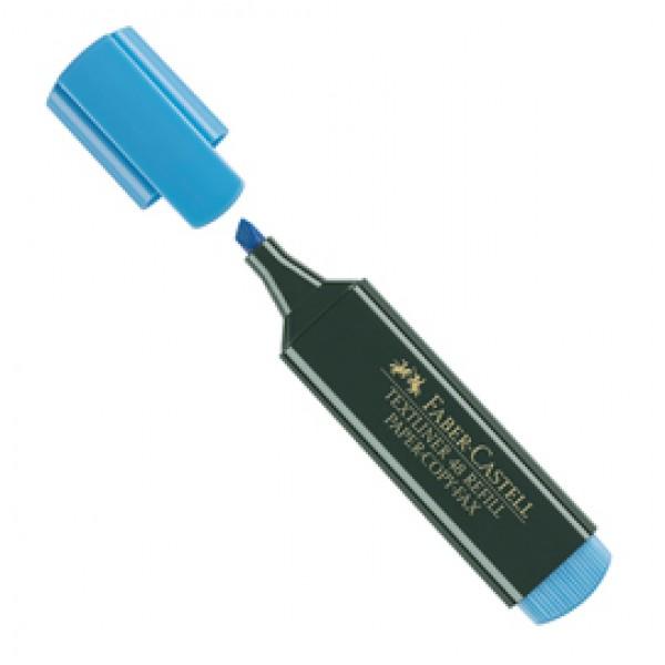 Evidenziatore Textliner 48 -  punta di 3 differenti larghezze: 5,0- 3,0-1,0mm - azzurro - Faber Castell