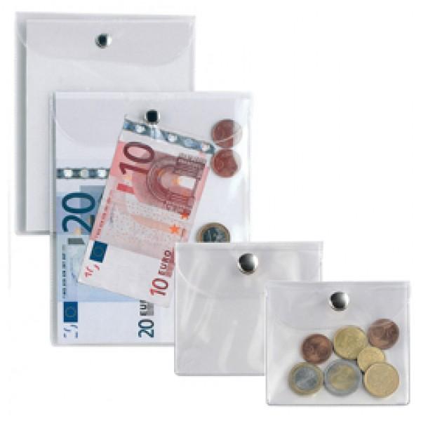 Busta con bottone Press 2E - PVC - 9,5x12 cm - trasparente - Sei Rota