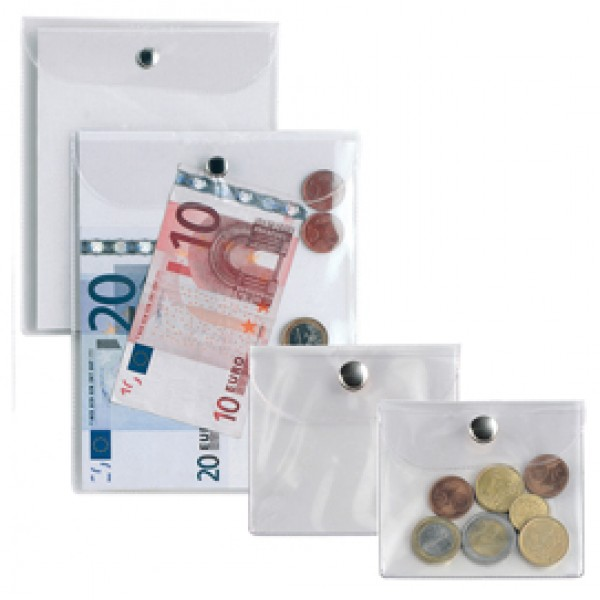 Busta con bottone Press 3E - PVC - 11,2x20,5 cm - trasparente - Sei Rota