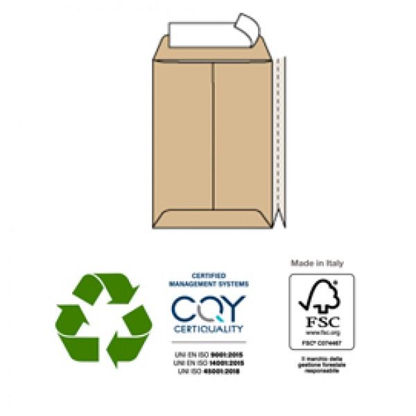 Busta a sacco avana - serie Largemail - soffietti laterali - strip adesivo - 250x353x40 mm - 120 gr - Pigna - conf. 250 pezzi