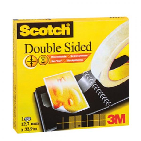 Nastro biadesivo Scotch® - permanente - senza liner - 33 m x 12 mm - trasparente - Scotch®