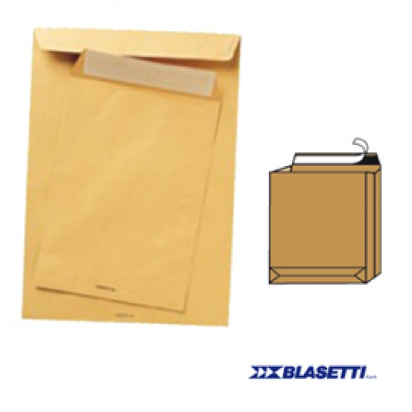 Busta a sacco avana - serie Monodex - soffietti laterali - fondo quadro - strip adesivo - 300x400x40 mm - 120 gr - Blasetti - conf. 250 pezzi