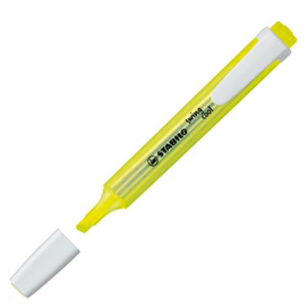 Evidenziatore Stabilo Swing Cool  - punta scalpello -  tratto da 1,0-4,0mm - giallo - Stabilo