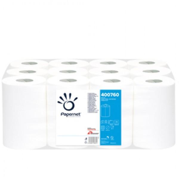 Asciugamani in rotolo mini Centrefeed - 2 veli - 18 gr - diametro 14,5 cm - 21 cm x 76,65 mt - 210 strappi - bianco - Papernet