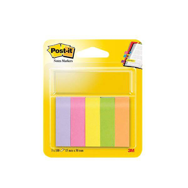 Post-it® Notes Markers - 15x50 mm - giallo, arancio, rosa neon, rosa, verde - 11303 (conf.5)