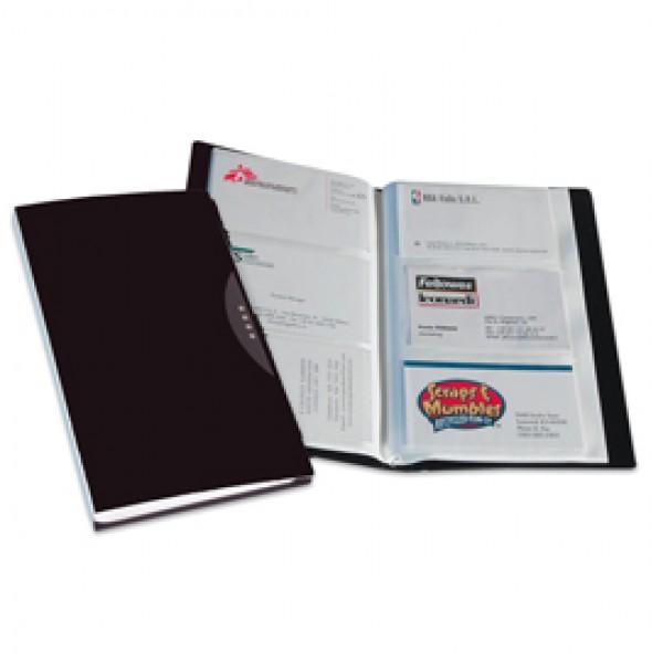 Portabiglietti da visita Office Suites - 240 tasche - con custodia - 11,4x19,2 cm - nero - Fellowes