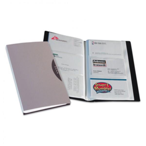 Portabiglietti da visita Office Suites - 240 tasche - con custodia - 11,4x19,2 cm - silver - Fellowes