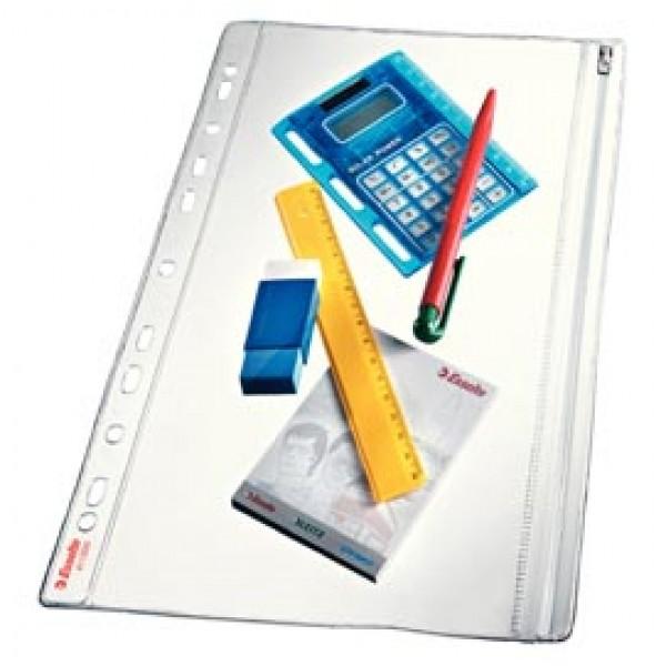Buste forate con zip - PVC - 19x30 cm - Esselte - conf. 5 pezzi