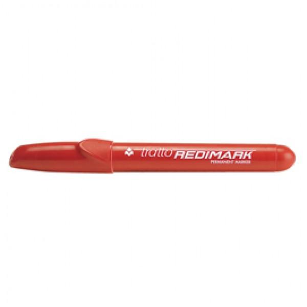 Marcatore permanente Redimark - punta a scalpello - tratto 6,50mm - rosso - Tratto