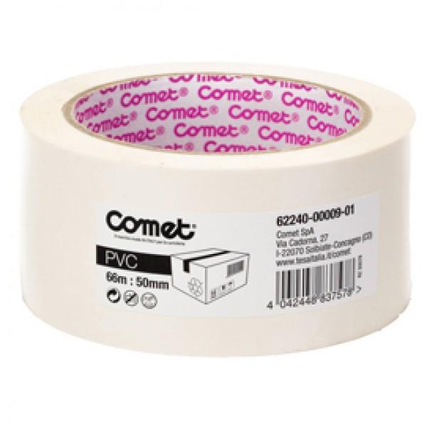 Nastro adesivo - PVC - 50 mm x 66 mt - bianco - Comet