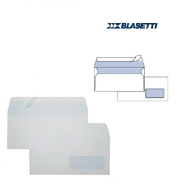 Busta bianca con finestra - serie Eco Strip Laser - certificazione FSC - adatta a stampa laser - 110x230 mm - 90 gr - Blasetti - conf. 500 pezzi