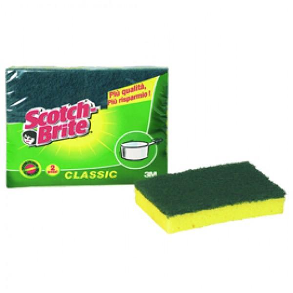 Spugna Classic - 14,2x2,4x11,5 cm - giallo/verde - Scotch Brite® - conf. 2 pezzi