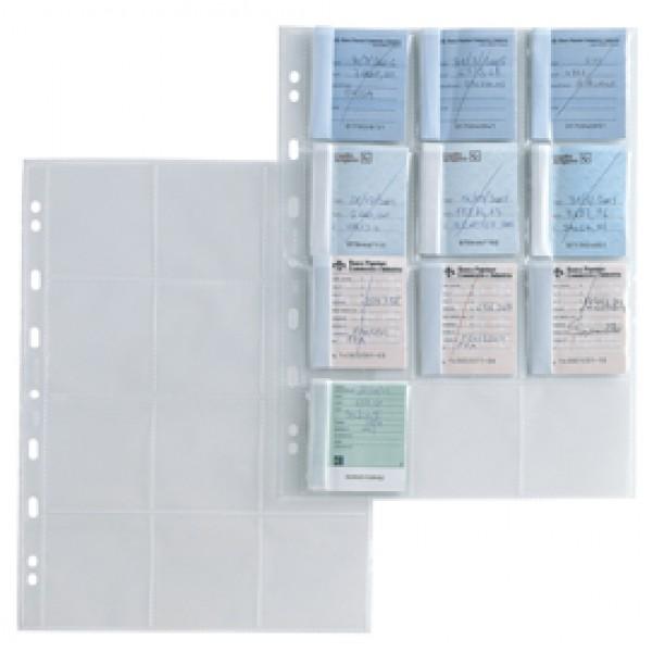 Buste porta matrici assegni Atla MA - foratura universale - 12 tasche -  trasparente - Sei Rota - conf. 10 pezzi