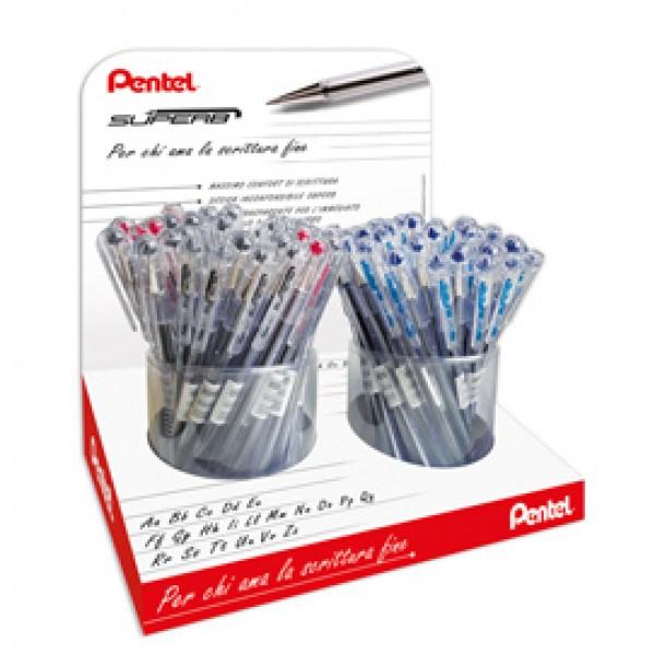 Penna sfera SuperB - colori assortiti (blu/rosso/nero) - Pentel - expo 96 pezzi