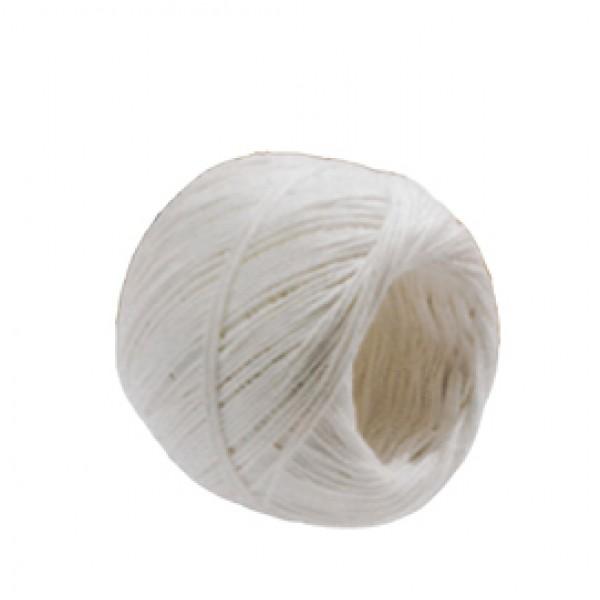 Rotolo di spago - fibra naturale titolo 2/6 - colore bianco - finitura candido cerato - 100 grammi - diametro 1 mm - lunghezza 90 m - Viva - conf. 10 pezzi