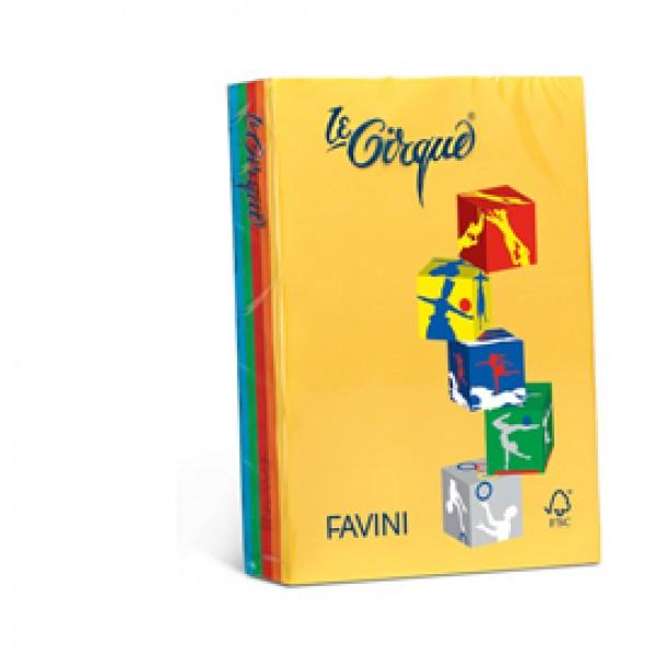 Carta e cartoncino colorato favini Le Cirque Colori forti - 160 gr. - assortiti 5 colori - A74x314 (risma 250)