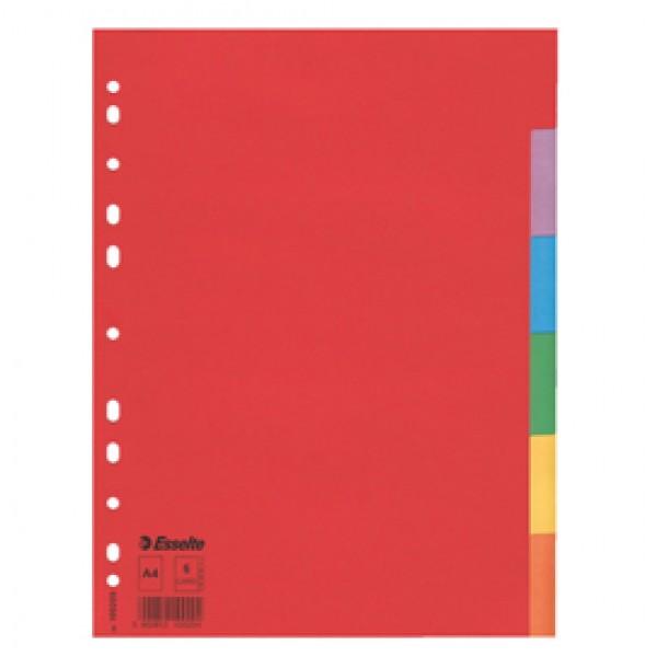 Separatore Economy In Cartoncino 160gr Colorato 6 Tasti A4 ESSELTE - 100200