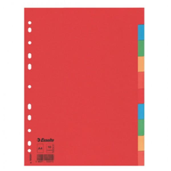 Separatore Economy In Cartoncino 160gr Colorato 10 Tasti A4 ESSELTE - 100201