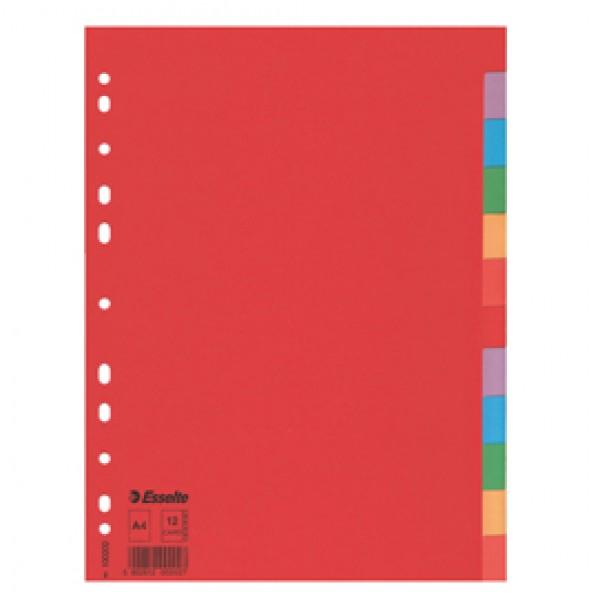 Separatore Economy In Cartoncino 160gr Colorato 12 Tasti A4 ESSELTE - 100202