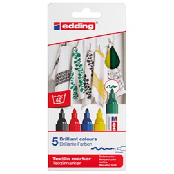Marcatore per tessuto 4500 - punta tonda 2,0-3,0mm - 5 colori assortiti - Edding
