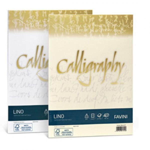 Carta e cartoncino effetto lino Calligraphy Favini avorio - fogli - A4 - 200 gr. A69Q614 (conf.50)
