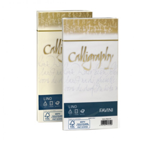 25 buste CALLIGRAPHY LINO 120gr 11x22cm bianco FAVINI